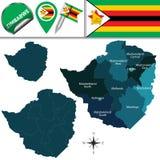Kaart van Zimbabwe met Genoemde Provincies Stock Afbeelding