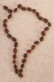 Kaart van Zuid-Amerika - koffiebonen op canvas Stock Foto's