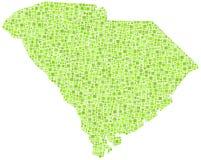 Kaart van Zuid-Carolina Stock Afbeeldingen
