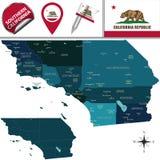 Kaart van Zuidelijk Californië royalty-vrije stock afbeelding
