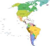 Kaart van zuiden en Noord-Amerika met landen Royalty-vrije Stock Afbeeldingen