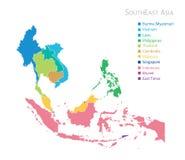 Kaart van Zuidoost-Azië Stock Fotografie
