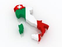 Kaart van Zwitserland en Italië. Stock Foto's