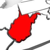 Kaart Verenigde Staten Amerika Staat van de West- van Virginia de Rode Abstracte 3D Royalty-vrije Stock Foto's
