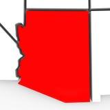 Kaart Verenigde Staten Amerika van de Staat van Arizona de Rode Abstracte 3D Stock Foto