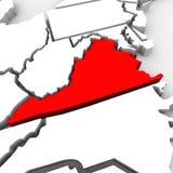 Kaart Verenigde Staten Amerika van de Staat van Virginia de Rode Abstracte 3D Stock Foto