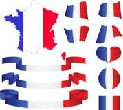 Kaart, vlag, linten, hart en bal van Frankrijk Royalty-vrije Stock Afbeelding