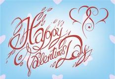 Kaart voor de Dag van Valentine, kalligrafische doopvont, met de hand gemaakt, het van letters voorzien Royalty-vrije Stock Afbeelding