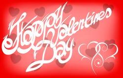 Kaart voor de Dag van Valentine, kalligrafische met de hand gemaakte doopvont, Royalty-vrije Stock Afbeelding