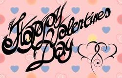Kaart voor de Dag van Valentine, kalligrafische met de hand gemaakte doopvont, Royalty-vrije Stock Foto's