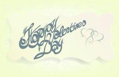 Kaart voor de Dag van Valentine, kalligrafische met de hand gemaakte doopvont, Stock Afbeelding