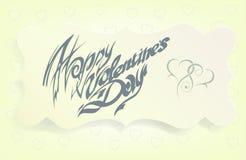 Kaart voor de Dag van Valentine, kalligrafische met de hand gemaakte doopvont, Royalty-vrije Stock Fotografie