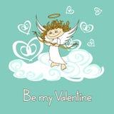 Kaart voor de Dag van Valentine met cupido Stock Foto's