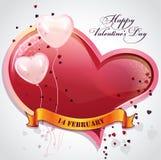 Kaart voor de Dag van Valentine met harten en ballons Royalty-vrije Stock Afbeeldingen
