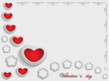 Kaart voor de Dag van Valentine op Gray Background Royalty-vrije Stock Afbeeldingen