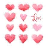 Kaart voor de dag van Valentine ` s, waterverf, liefde Royalty-vrije Stock Foto's