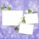 Kaart voor de vakantie met bloemen Stock Foto's