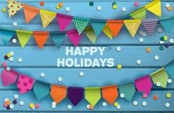 Kaart voor het vieren van gelukkige vakantie stock illustratie