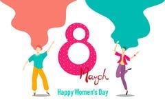 Kaart voor 8 Maart-de dag van vrouwen Het gelukkige ontwerp van het meisjeskarakter Meisjes het dansen vector Unieke en creatieve stock illustratie
