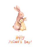 Kaart voor Moedersdag - het moederkonijn omhelst haar aanbiddelijk jong geitje Aquarelle art. stock illustratie
