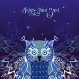 Kaart voor Nieuwjaar met uil royalty-vrije illustratie