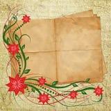 Kaart voor ontwerp met blad en bloemen Stock Fotografie