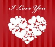 Kaart voor valentijnskaartdag met groot hart wordt gemaakt die voor Royalty-vrije Stock Afbeeldingen