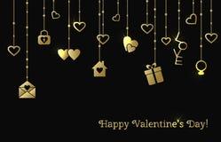 Kaart voor Valentijnskaartendag met het hangen van gouden harten, gift, brief Stock Afbeeldingen