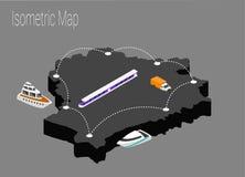 Kaart Witrussisch isometrisch concept Stock Afbeelding