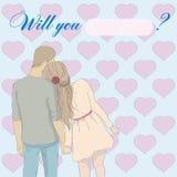 Kaart: Zult u me huwen? Stock Foto's