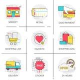 Kaartbetaling die Online het Winkelen het Pictogramreeks beleggen van de Leverings Favoriete Website Stock Afbeeldingen