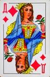 Kaartdame van diamanten, kostuum van diamanten royalty-vrije stock afbeeldingen