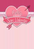 Kaartdekking met bericht: Feliz Dia de San Valentin - Gelukkige Valentijnskaartendag in Spaanse taal stock illustratie