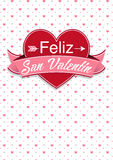 Kaartdekking met bericht: Feliz San Valentin - Gelukkige Valentijnskaartendag in Spaanse taal vector illustratie