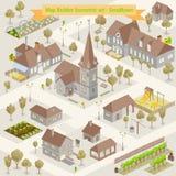 Kaartdorp van hierboven in hoogste mening met huis, weg, rivier in avonturenillustratie vector illustratie