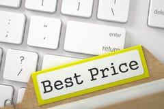 Kaartdossier met Inschrijvings Beste Prijs 3d Stock Fotografie
