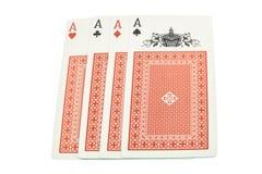 4 kaarten 4 azen Stock Fotografie