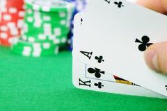 Kaarten die combinatie in Zwarte Jack ter beschikking winnen Stock Foto