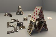 Kaarten, domino, spelen Stock Foto's