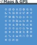 Kaarten en de reeks van het navigatiepictogram Stock Foto