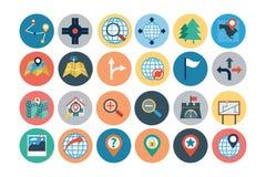 Kaarten en Navigatie Vlakke Pictogrammen 1 Royalty-vrije Stock Foto's