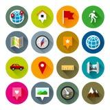 Kaarten en navigatiepictogrammen – Fllate-reeks Royalty-vrije Stock Fotografie