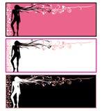 Kaarten, meisje met abstracte bloemen in haar Stock Afbeeldingen