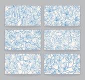 Kaarten met blauwe bloemenpatronen Royalty-vrije Stock Afbeeldingen