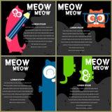 Kaarten met grappige katjes Stock Afbeeldingen