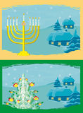 kaarten met Kerstboom en Channuka-kaarsen stock illustratie