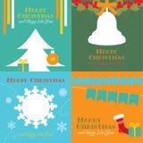 Kaarten met Kerstmissymbolen Royalty-vrije Stock Afbeeldingen