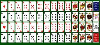52 kaarten met twee jokers Stock Afbeeldingen