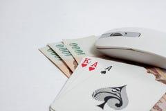 Kaarten over computertoetsenbord en smartphone Concept online c Royalty-vrije Stock Afbeelding