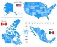 Kaarten van Canada, Verenigde Staten en Mexico met vlaggen en de pictogrammen van de plaatsnavigatie Royalty-vrije Stock Foto's